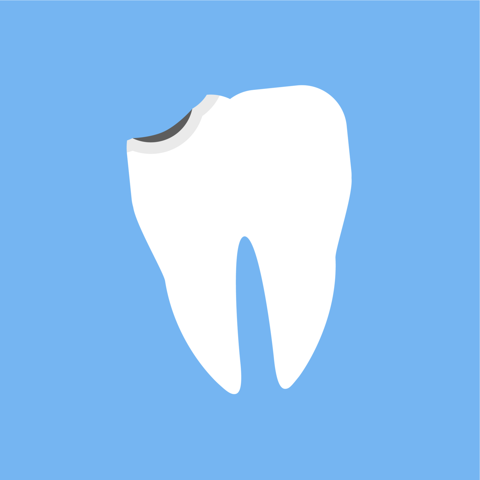 a cartoon of a chipped tooth